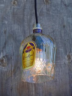 Crown Royal Whisky Pendant Light Shade makes for great industrial lighting!  Bottle lights or bottle lamps are trendy and fun! Get yours by CLICKING on the picture to go to my Etsy shop www.etsy.com/shop/lookingsharpcactus