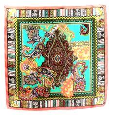 foulard en soie imprimé indien corail #mesecharpes.com http://www.mesecharpes.com/carre-soie/grand-carre/carre-de-soie-foulard-imprime-indie-corail-binta-85-x-85-cm.html