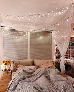 """HowWeLive on Instagram: """"A dream of fairylights in the bedroom of @loveleelizzy from Connecticut 😍✨💗 #howwelive #repost #bedroomdreams"""" Fall Bedroom Decor, Room Ideas Bedroom, Bedroom Inspo, Bedroom Inspiration Cozy, Vintage Bedroom Decor, Bedroom Table, Bed Room, Fall Decor, Dream Rooms"""