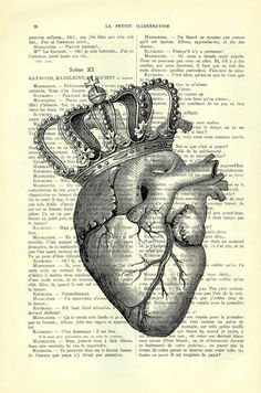 Anatomical heart with crown art print king of by MadameMemento