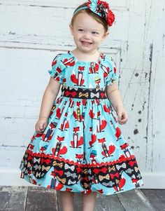 Girls Fox Dress Peasant style Sizes 12 Months  by MarieVivDesigns
