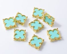 Mint Clover Brass Pendant (Small), Jewelry Craft Supplies, Polished Gold - 1pcs / RG0050-PGMT