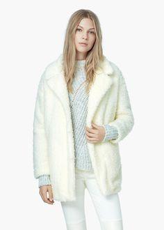 Lapels bouclé coat - Coats for Women   MANGO