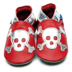 Red Baby Boys Shoes with Silver Skull Motif by Inch Blue  £15