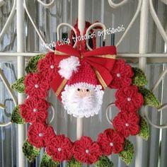 Items similar to Crochet Christmas wreath Christmas decoration Gold white decor Crochet Christmas ornament Handmade wreath tree toy Winter wedding decor on Etsy Crochet Christmas Wreath, Crochet Wreath, Crochet Christmas Decorations, Christmas Crochet Patterns, Holiday Crochet, Christmas Wreaths, Christmas Crafts, Crochet Santa, Crochet Gifts