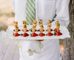 Mini cones stuck in fruit (to stand up) appetizers/mini desserts