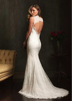 Delicate Lace & Satin V-neck Neckline Trumpet Wedding Dress With Beadings