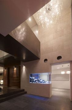 This whole space is just incredible, so striking and modern. Especially love the light and the fish tank as a divider.