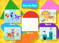 """On the easy level just click the shape and where you want it to go. In the hard levels, shapes need to be rotated and resized. When you have finished your picture, click """"Movie"""" to watch a short animation. Literacy And Numeracy, Literacy Games, Math Games, Math Activities, Learning Through Play, Kids Learning, Preschool Colors, Preschool Shapes, Preschool Ideas"""