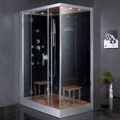 "Ariel DZ961F8-L Platinum 89"" Steam Shower Enclosure with Shower System on Left Black Steam Showers Steamroom Enclosures Shower System"