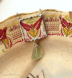 Broken china jewelry necklace antique Art Nouveau Art Deco butterfly with fluorite gemstone
