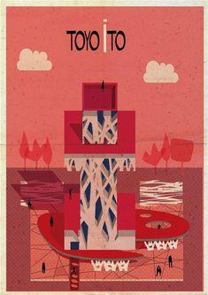 Archibet alphabet of architects by Federico Babina | Toyo Ito #architecture #illustration #alphabet