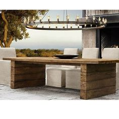 Perfect garden furniture from Restoration Hardware. Please ship or open a store in the UK! Outdoor Tables, Outdoor Dining, Outdoor Spaces, Outdoor Decor, Dining Table, Rustic Outdoor, Rustic Table, Log Table, Patio Table