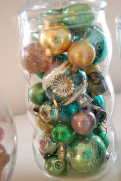 vintage christmas ornaments in jar by freshvintagestyle, via Flickr
