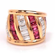 11.20 ct Impressive Designer Verney Diamond Ruby 18K Gold Ring Item #: 520102