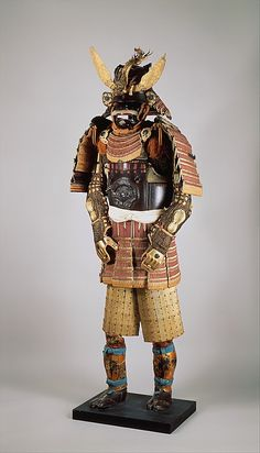 This example comes from the armory of Date Yoshimura (1703–1746), daimyo (lord) of Sendai. The helmet bowl, signed Saotome Iye[tada?], dates from the sixteenth century; the remainder of the armor was constructed in the eighteenth century
