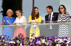 The royals and Kate's PA Rebecca Deacon (right) were in good company as they had the chairman of the All England Lawn Tennis and Croquet Club Philip Brook and his wife Gill to show them around. Kate in particular seemed to be getting on like a house on fire with Brook