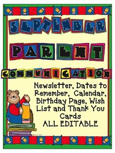 Editable September Parent Communication {Newsletters, Calendars, and more}
