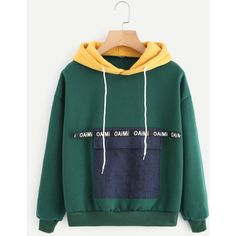 Color Block Pocket Front Hoodie ($7.99) ❤ liked on Polyvore featuring tops, hoodies, block top, green top, color block hooded sweatshirt, hooded pullover and colorblock top