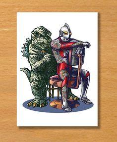 Kaiju Tattoo Greeting Card 5 x 7 greeting card