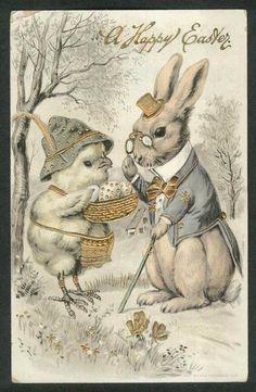 A Happy Easter chick & gentleman rabbit gilded embossed postcard 1912 Easter Art, Hoppy Easter, Easter Crafts, Easter Bunny, Vintage Easter, Vintage Holiday, Vintage Greeting Cards, Vintage Postcards, Lapin Art