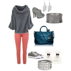 dressy or casual.  drapey gray sweater with orange skinny jeans.  I love the pop of the blue bag - complements the orange.  :)