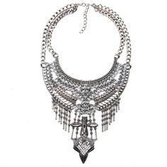 Ezüst kövekkel díszített, vagány, fesztivál stílusú nyaklánc