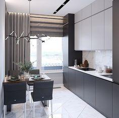 Big Kitchen Trends In 2016 - Interior Decor and Designing Grey Kitchen Interior, Modern Kitchen Interiors, Kitchen Room Design, Luxury Kitchen Design, Home Room Design, Kitchen Cabinet Design, Living Room Kitchen, Home Decor Kitchen, Home Kitchens