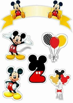 Mickey First Year Free Printable Cake Toppers. Disney Mickey Mouse, Baby Mickey, Bolo Mickey E Minnie, Mickey Mouse Cake Topper, Mickey Mouse E Amigos, Theme Mickey, Fiesta Mickey Mouse, Mickey Party, Mickey Mouse And Friends