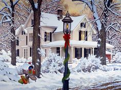 John Sloane--Winter Tranquility I had this on Christmas cards one year. Christmas Scenes, Noel Christmas, Vintage Christmas Cards, Country Christmas, Christmas Pictures, Winter Christmas, Snow Pictures, Christmas Morning, Winter Snow