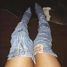 Rihanna Shoes - Denim boots (made to order!!!) thigh highs