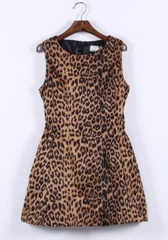 Multicolor Leopard Print Collarless Sleeveless Wrap Polyester Dress
