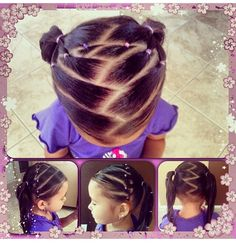 Zigzag hair style for little girls (kid hair braids styles) Girls Hairdos, Lil Girl Hairstyles, Kids Braided Hairstyles, Princess Hairstyles, Girls Braids, Pretty Hairstyles, Hair Dos For Kids, Toddler Hair, Curly Hair Styles