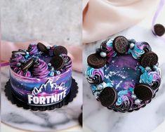 Fortnite cake - cake by Cakes Julia - CakesDecor Cupcakes, Cupcake Cakes, 10th Birthday Parties, Boy Birthday, Birthday Ideas, Birthday Drip Cake, Tumblr Birthday Cake, Cake Designs For Boy, Galaxy Cake