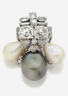 630784698 Cartier-Art Deco diamond and pearl clip Cartier Jewelry, Pearl Jewelry,  Antique Jewelry
