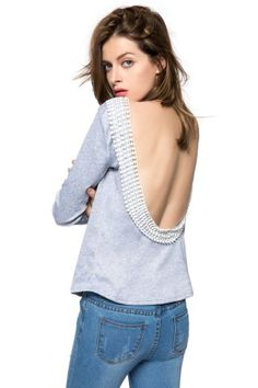 Sexy Round Collar Long Sleeve Spliced Backless Women's T-Shirt T-Shirts | RoseGal.com Mobile