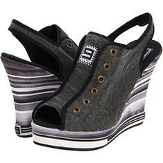 Stylish Black & Gray Stripe - Wedge Shoes