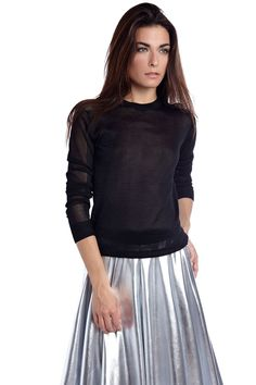 Black open knit sweater<br/><div class='zoom-vendor-name'>By <a href=http://www.ustrendy.com/Q2>Q2</a></div>