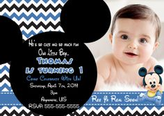 Baby Mickey Birthday Invitation $8.99