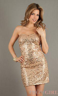 Short Strapless Sequin Sweetheart Dress Short Maid of Honor Dress #2