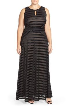 London Times Embellished Velvet Panne Stripe A-Line Gown (Plus Size) available at #Nordstrom