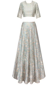 Payal Singhal- Mint blue fish scale and floral applique lehenga set available only at Pernia's Pop Up Shop. Indian Attire, Indian Wear, Indian Outfits, Bridal Lehenga Online, Mint Blue, Pernia Pop Up Shop, Saree Blouse Designs, Indian Designer Wear, Lehenga Choli