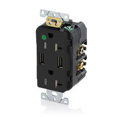 20 Amp Decora Hospital Grade Tamper Resistant Duplex Receptacle and 3.6 Amp USB Charger, Black