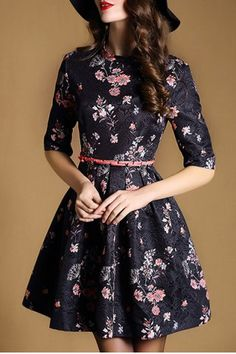 Ladylike Jewel Neck Half Sleeve Floral Print A-Line Women's Dress