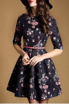 Ladylike Jewel Neck Half Sleeve Floral Print A-Line Women's Dress