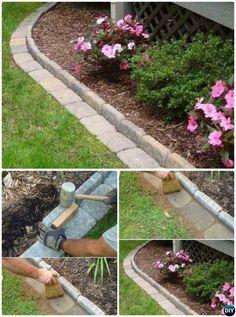 DIY Brick Garden Edging – 20 Creative Garden Bed Edging Ideas Projects Instructions DIYHowto - All For Garden Garden Beds, Diy Lawn, Brick Garden, Brick Garden Edging, Lawn And Garden, Backyard Landscaping Designs, Diy Garden, Garden Design, Garden Projects