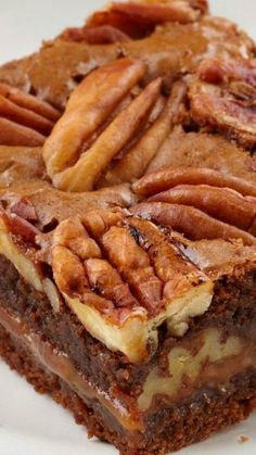 Caramel-Pecan Brownies Recipe ~ Dark chocolate brownies layered with chewy caramel and crunchy pecans..I have gone to heaven. The dessert of desserts!