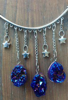 Gemstone Necklace Druzy Necklace Star by MoonflowerDaydream