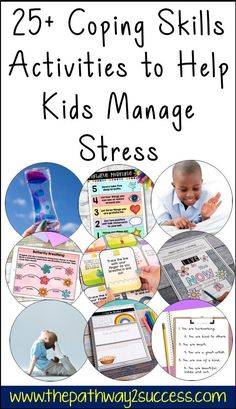 25+ coping skills activities to help children and teenagers manage stress and tough emotions! Includes free activities, ideas, and resources to help kids of all ages. Anger Management Activities For Kids, Activities For Teens, Counseling Activities, Kindergarten Activities, Free Activities, Coping Skills Worksheets, Kids Coping Skills, Social Emotional Learning, Lessons For Kids