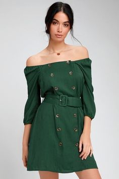 185786330f FELL IN LOVE FOREST GREEN BUTTON FRONT OFF-THE-SHOULDER DRESS
